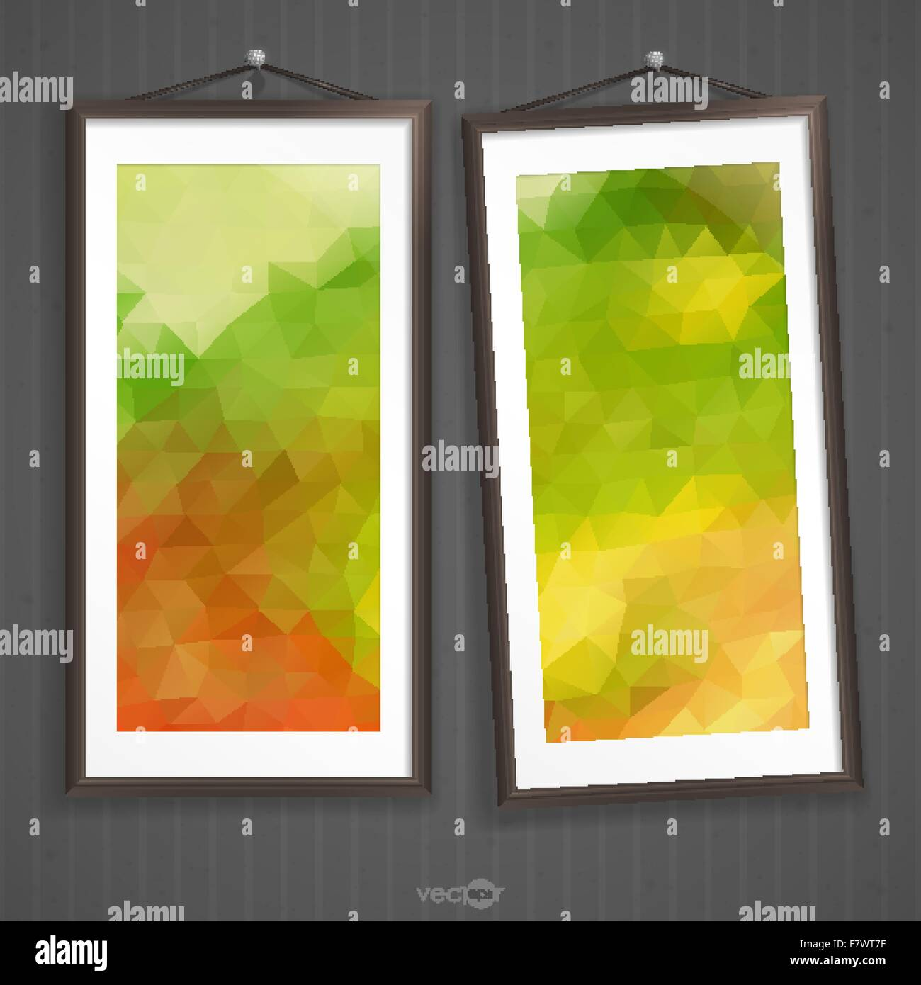 Two Frames Of Picture On A Striped Old Wall Stock Vector Art ...