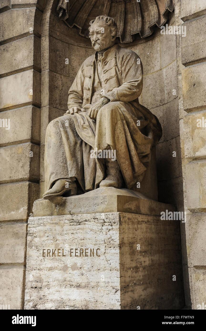 Statue of Erkel Ferenc in Magyar Allami Operahaz, Budapest, Hungary - Stock Image