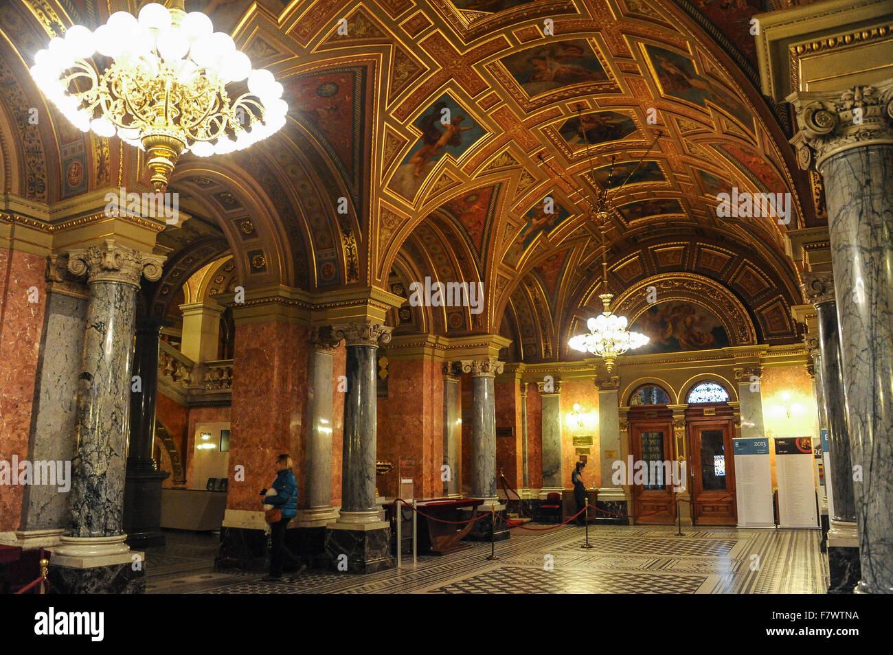 Interior of Magyar Allami Operahaz, Budapest, Hungary - Stock Image