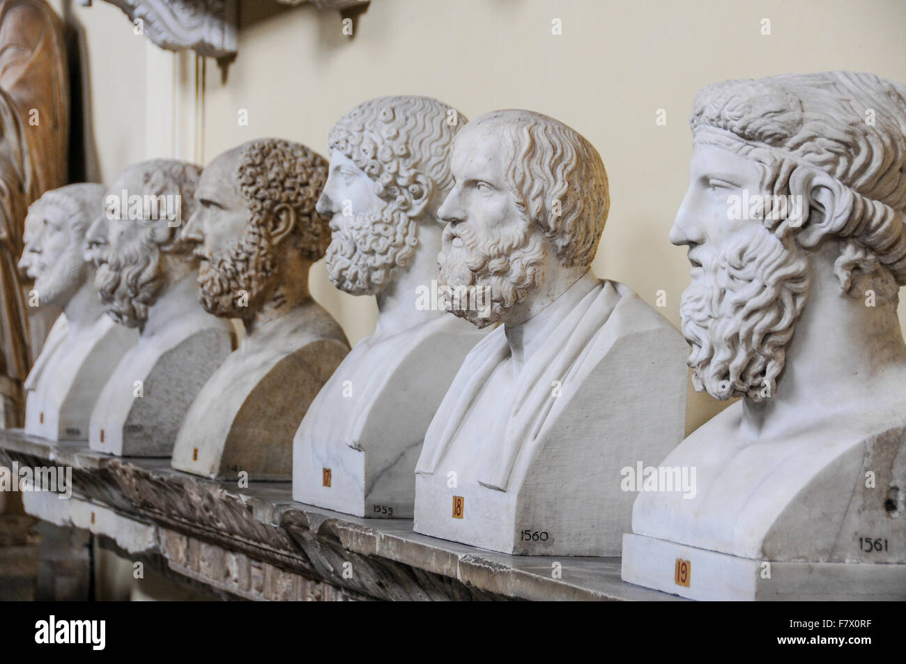 Statue of Roman Busts and Statue in Vatican Museums, Vatican - Stock Image