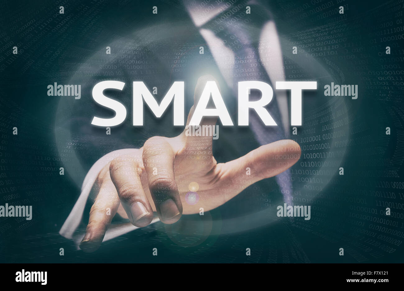Businessman pressing a SMART acronym concept button. - Stock Image