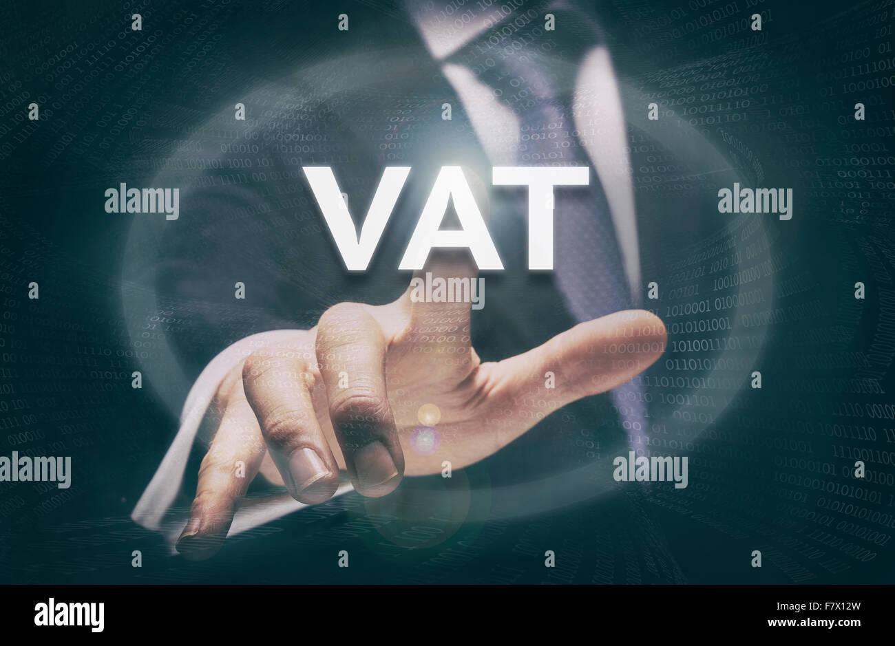 Businessman pressing a VAT concept button. - Stock Image