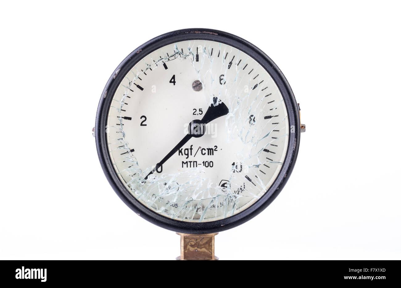 Old Broken Manometer - Pressure Gauge - Stock Image