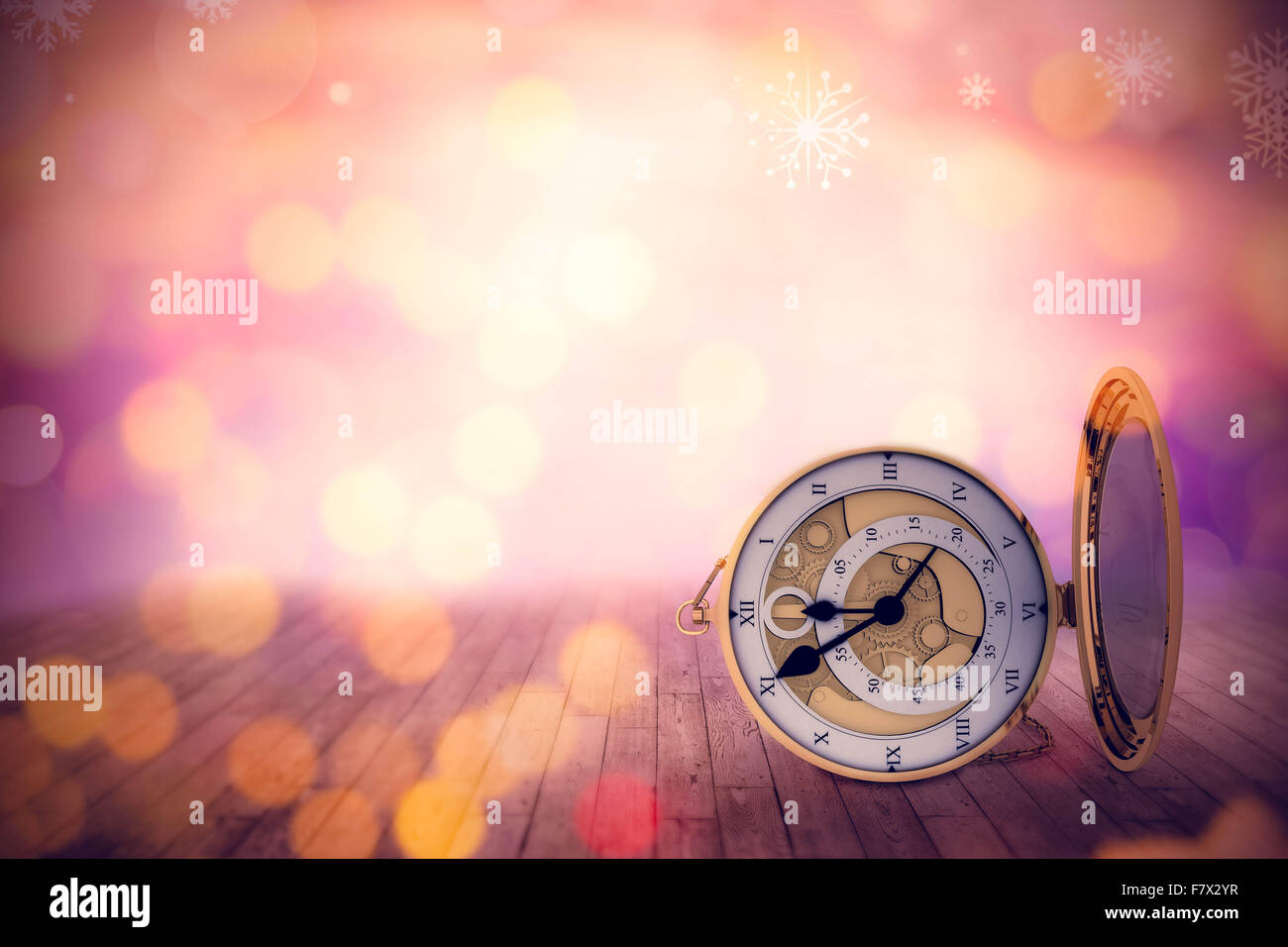 Composite image of retro styled pocket clock with mirror - Stock Image