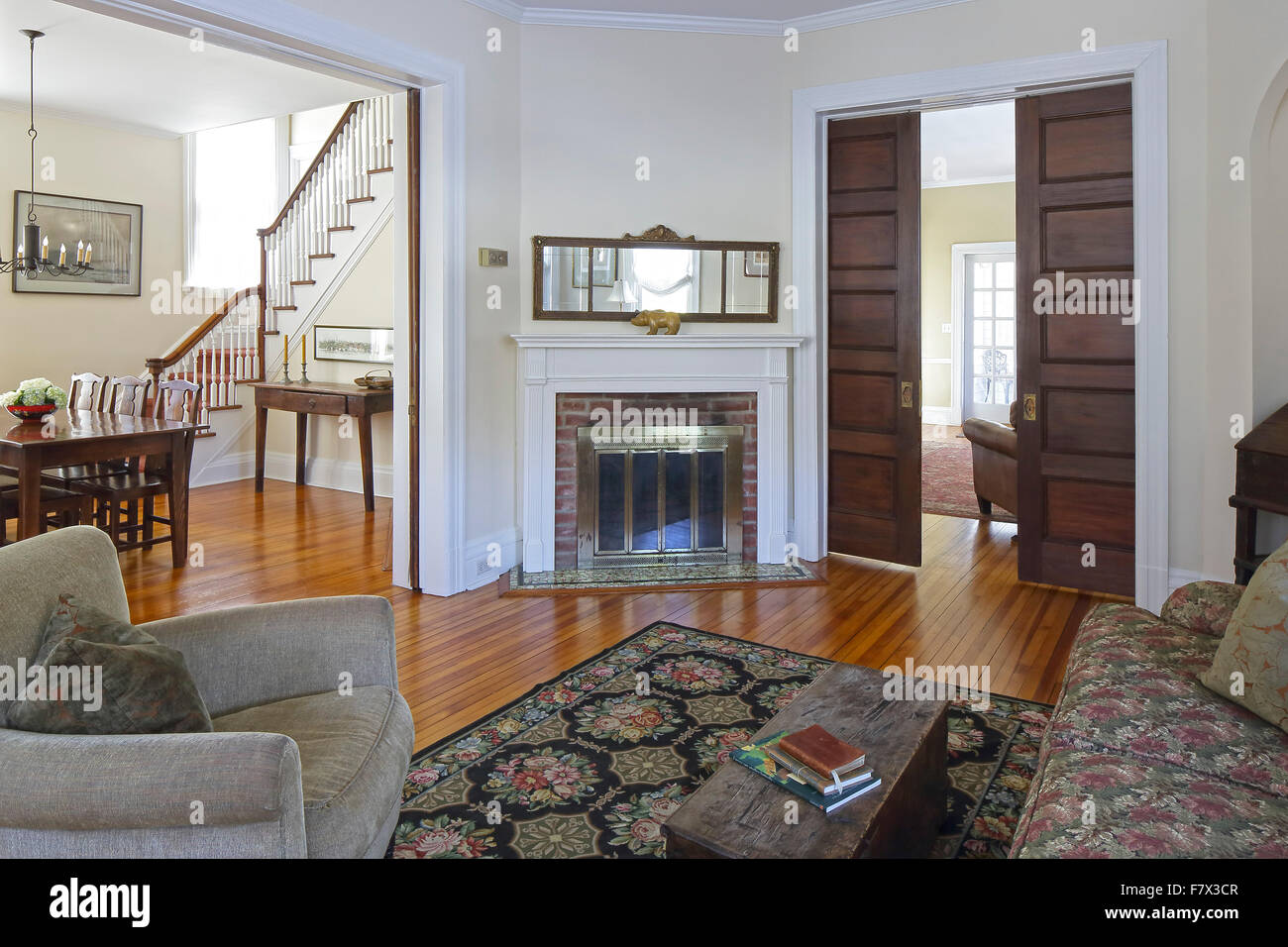 Main Reception Room Living Parlor At Entrance With View Through To Dining And TV Queen Anne Victorian House