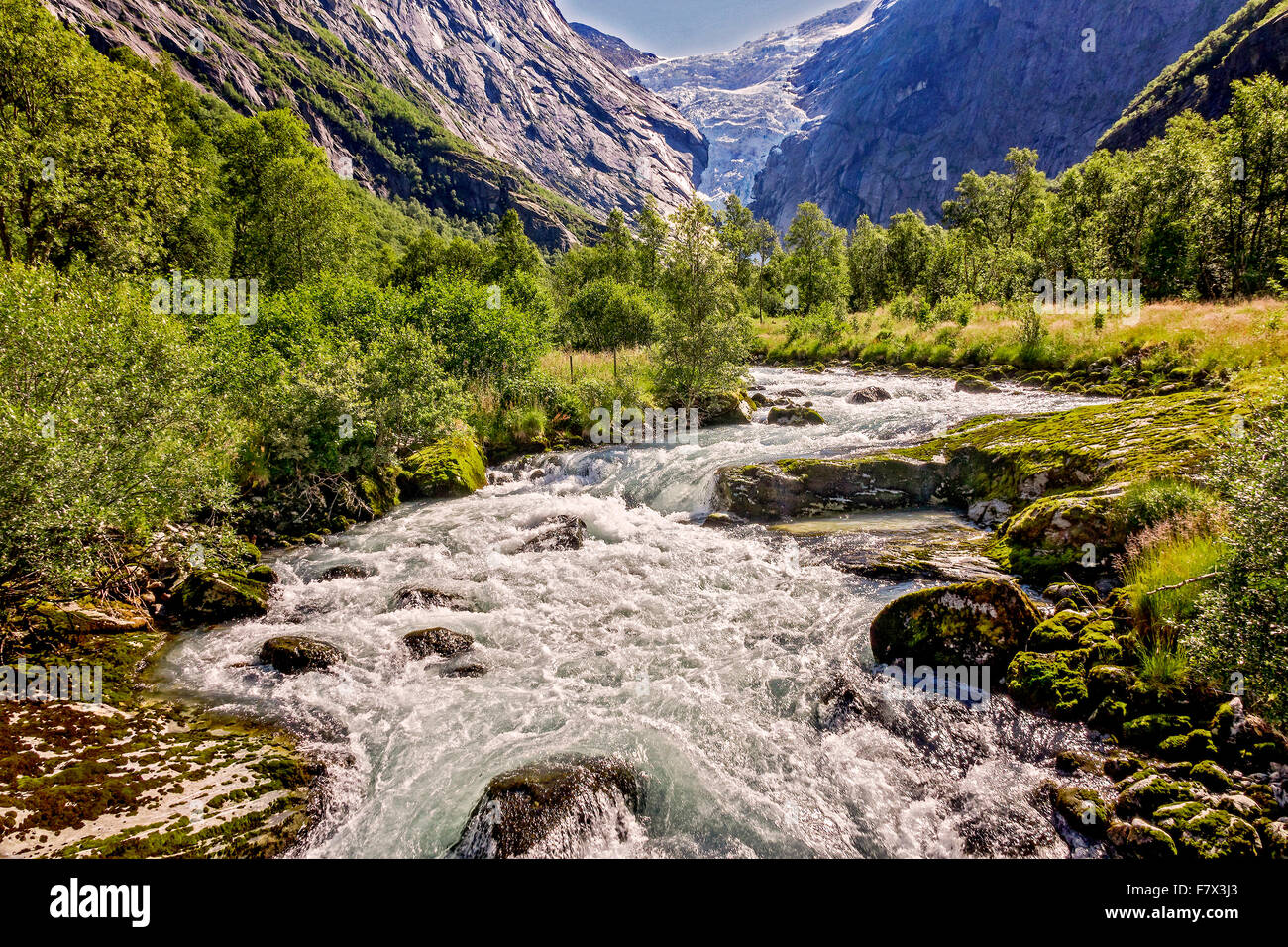 The Briksdal Glacier Jostedalsbreen National Park Norway Stock Photo