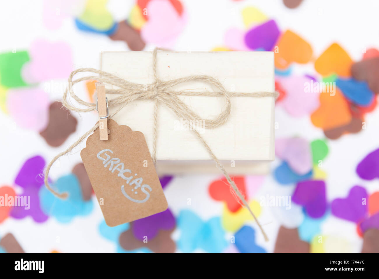 Gift with a thank you label - Stock Image