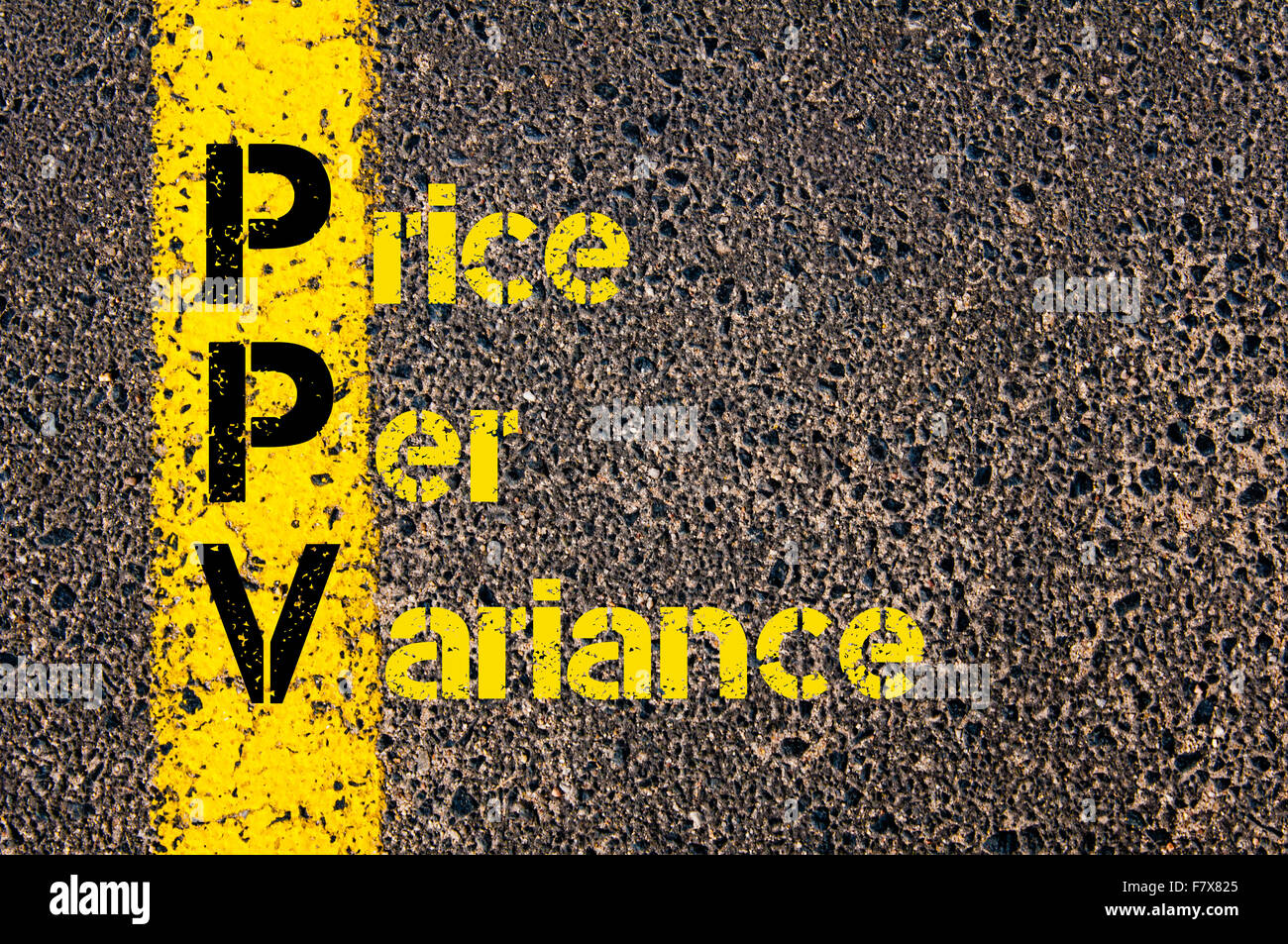 Concept image of Accounting Business Acronym PPV Price Per Variance written over road marking yellow paint line. - Stock Image