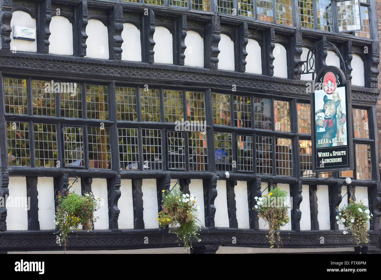 Chester Historic Bear and Billet public house by Bridgegate on Lower Bridge Street in the historic walled city of - Stock Image