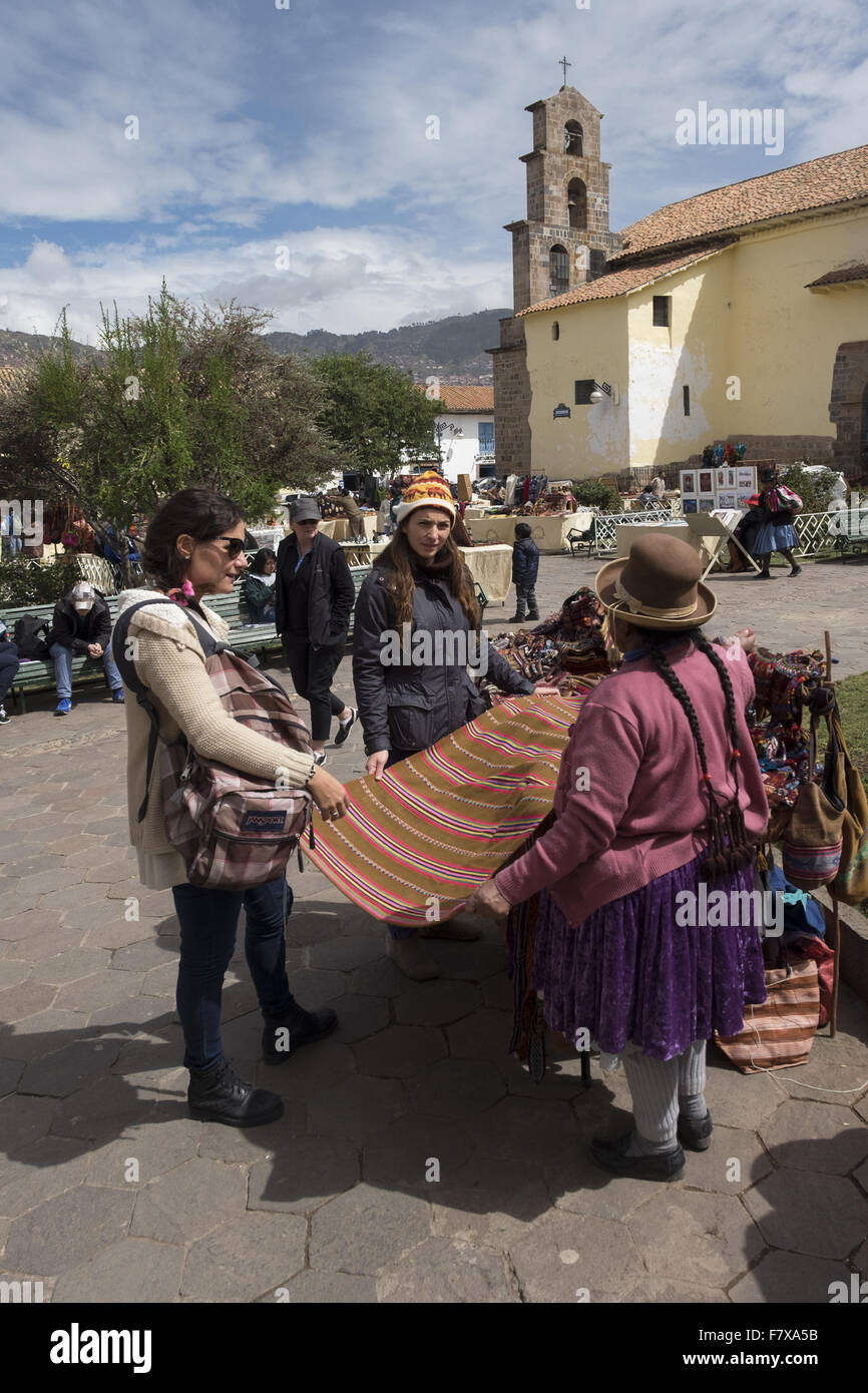 Selling crafts in San Blas square, square in the