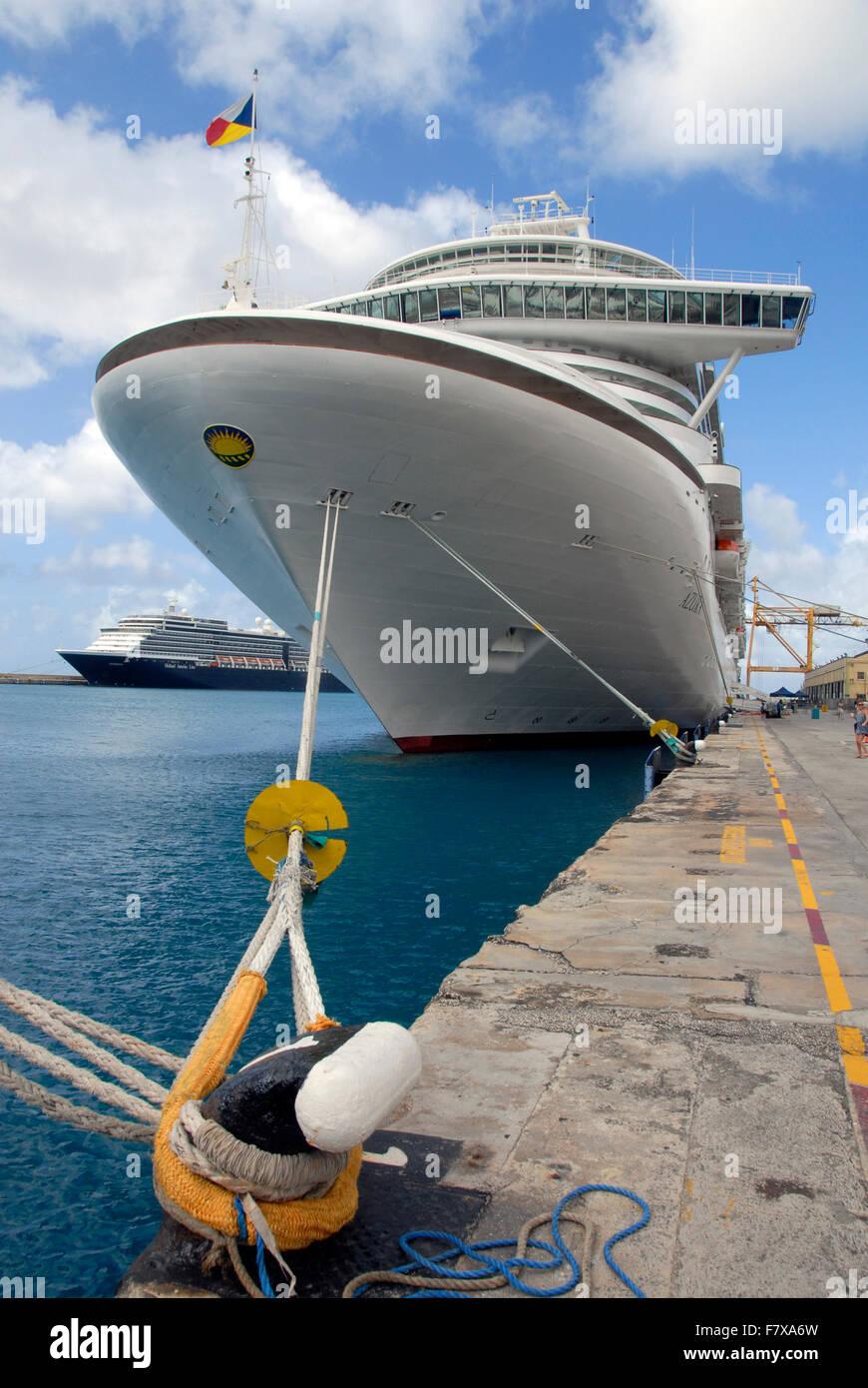 Cruise liners moored, Bridgetown, Barbados - Stock Image