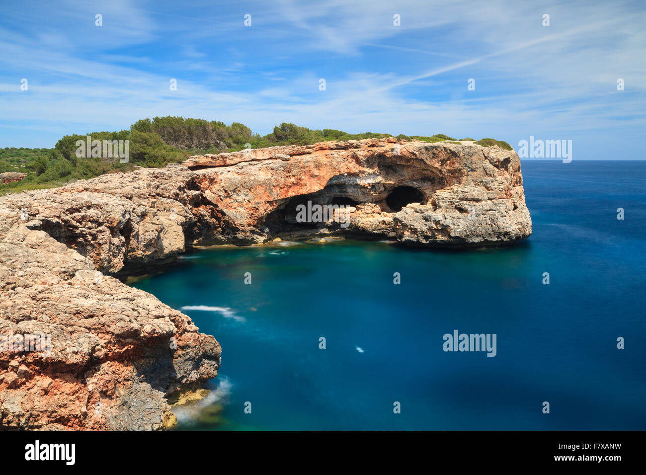 Coast at Cala Sa Nau - Long exposure version, Mallorca, Spain - Stock Image
