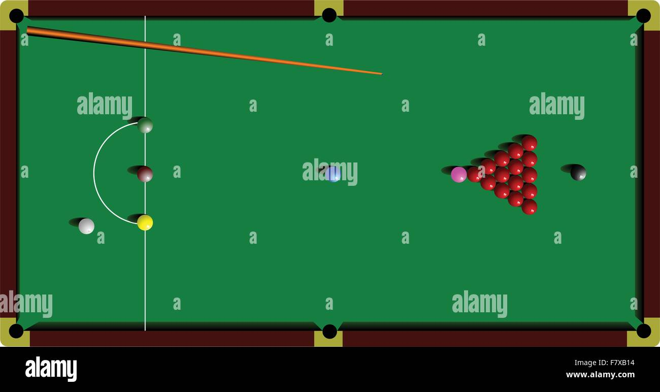 Snooker table and cue - Stock Vector