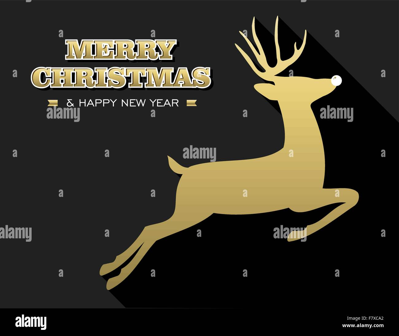 Merry Christmas Happy New Year Design In Gold And Black With Reindeer Silhouette Ideal For Holiday Greeting Card Poster Or Web