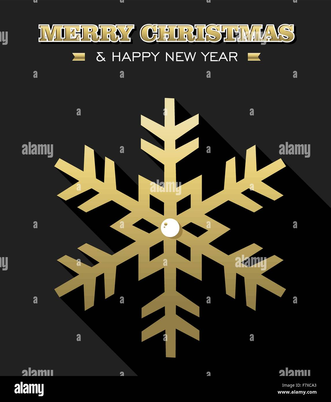 Merry Christmas Happy New Year Gold Snowflake Design On Black Background Ideal For Xmas Greeting Card Holiday Poster Or Web