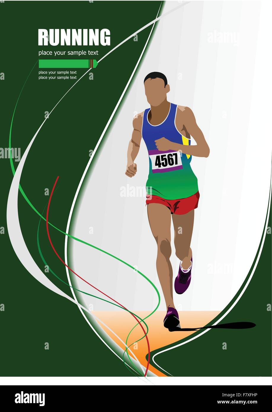 The running man. Track and field. Raterized copy. Vector into po - Stock Vector