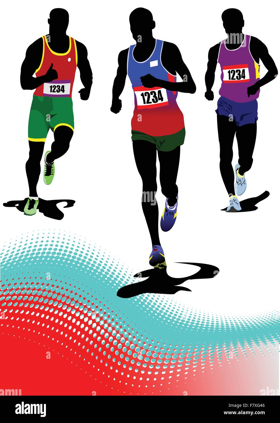 The running man. Track and field. Vector illustration - Stock Vector