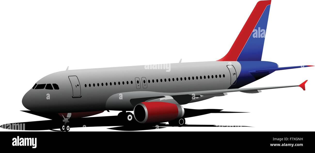 Airplane on the airfield. Vector illustration - Stock Image