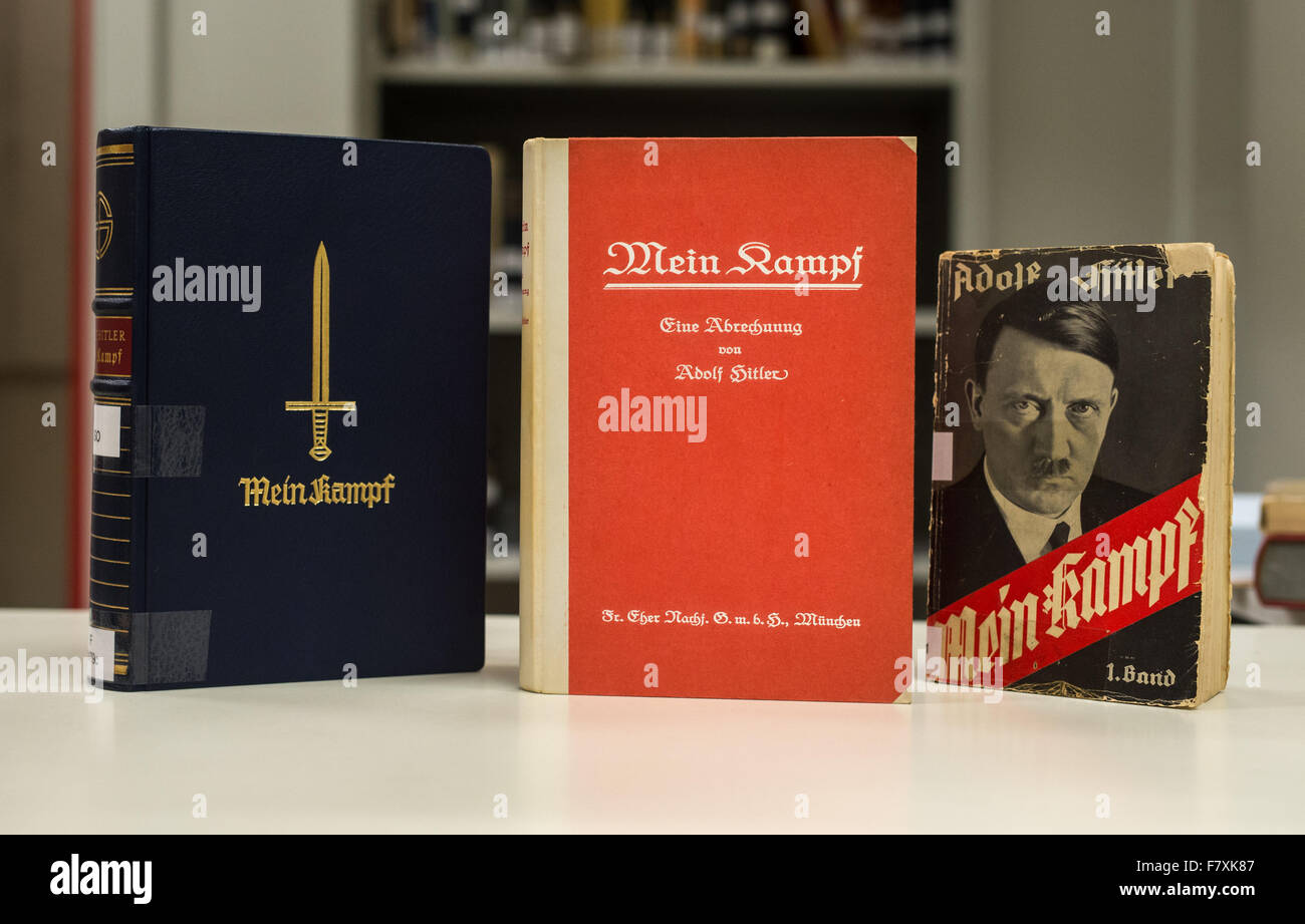 Munich, Germany. 3rd Dec, 2015. Three editions of Adolf Hitler's 'Mein Kampf' pictured at the Institut - Stock Image