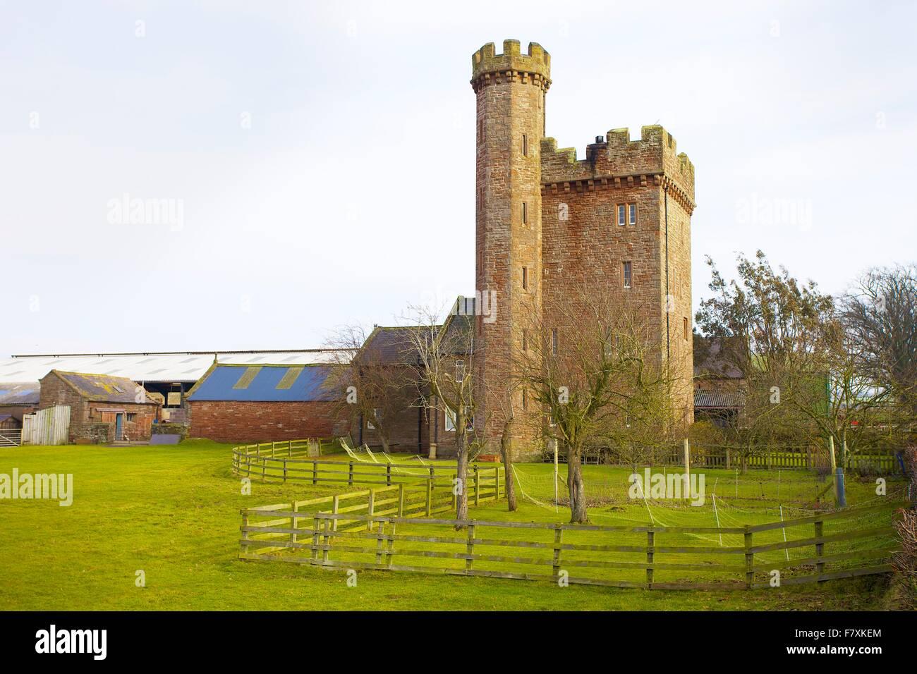 Toppin Castle imitation tower house, Warwick Bridge, Cumbria, England, UK. - Stock Image