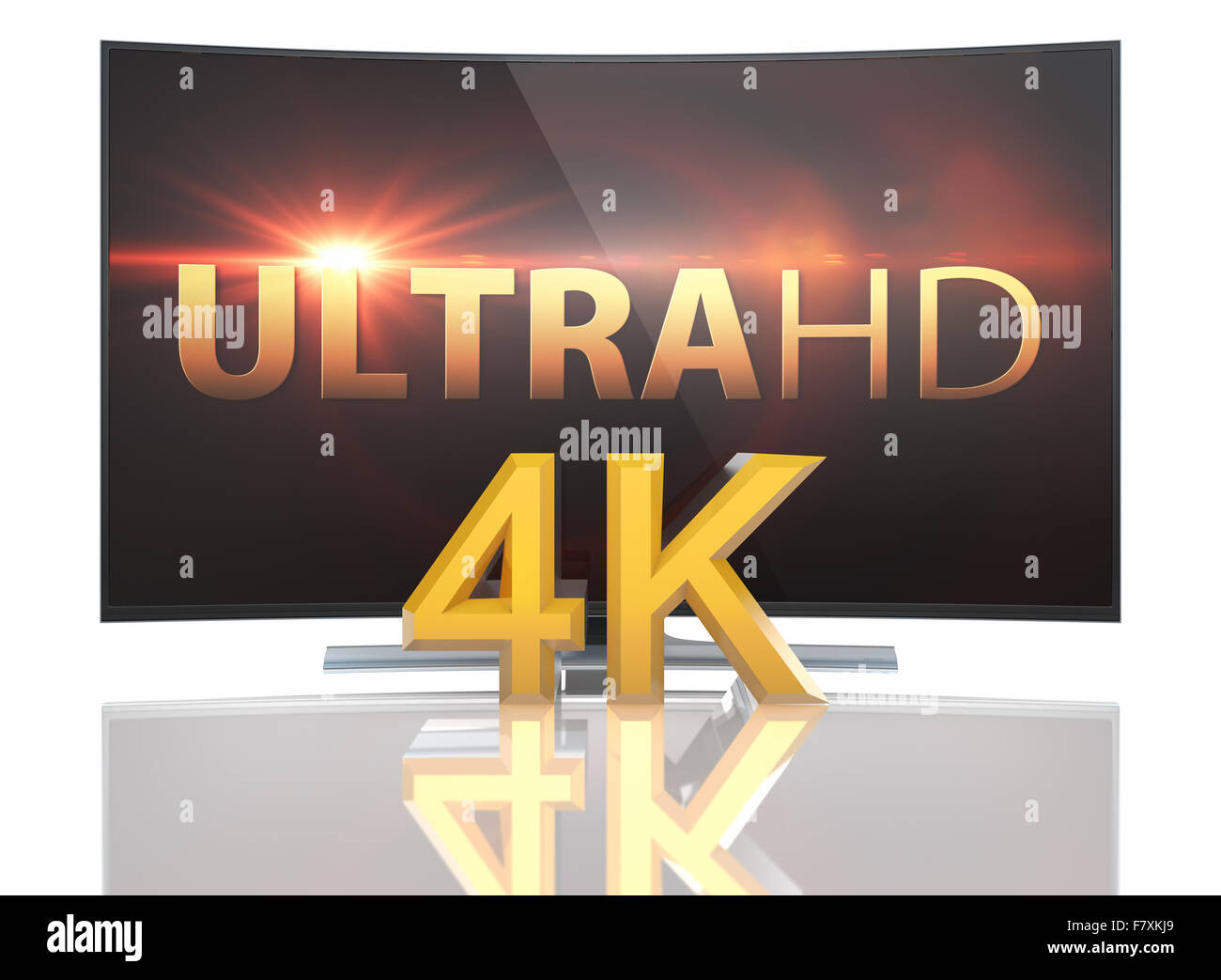 Ultra HD Smart Tv with Curved screen on white background - Stock Image