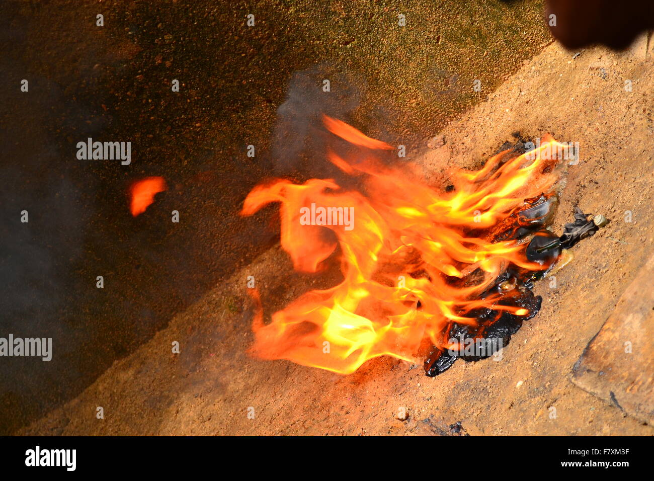Fire in full combustion - Stock Image