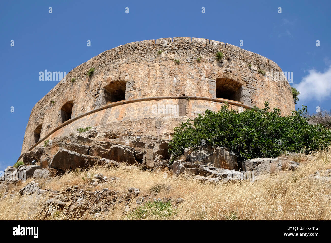 The Venetian half moon bastion of Mezzaluna Moceniga on Spinalonga, Crete. - Stock Image