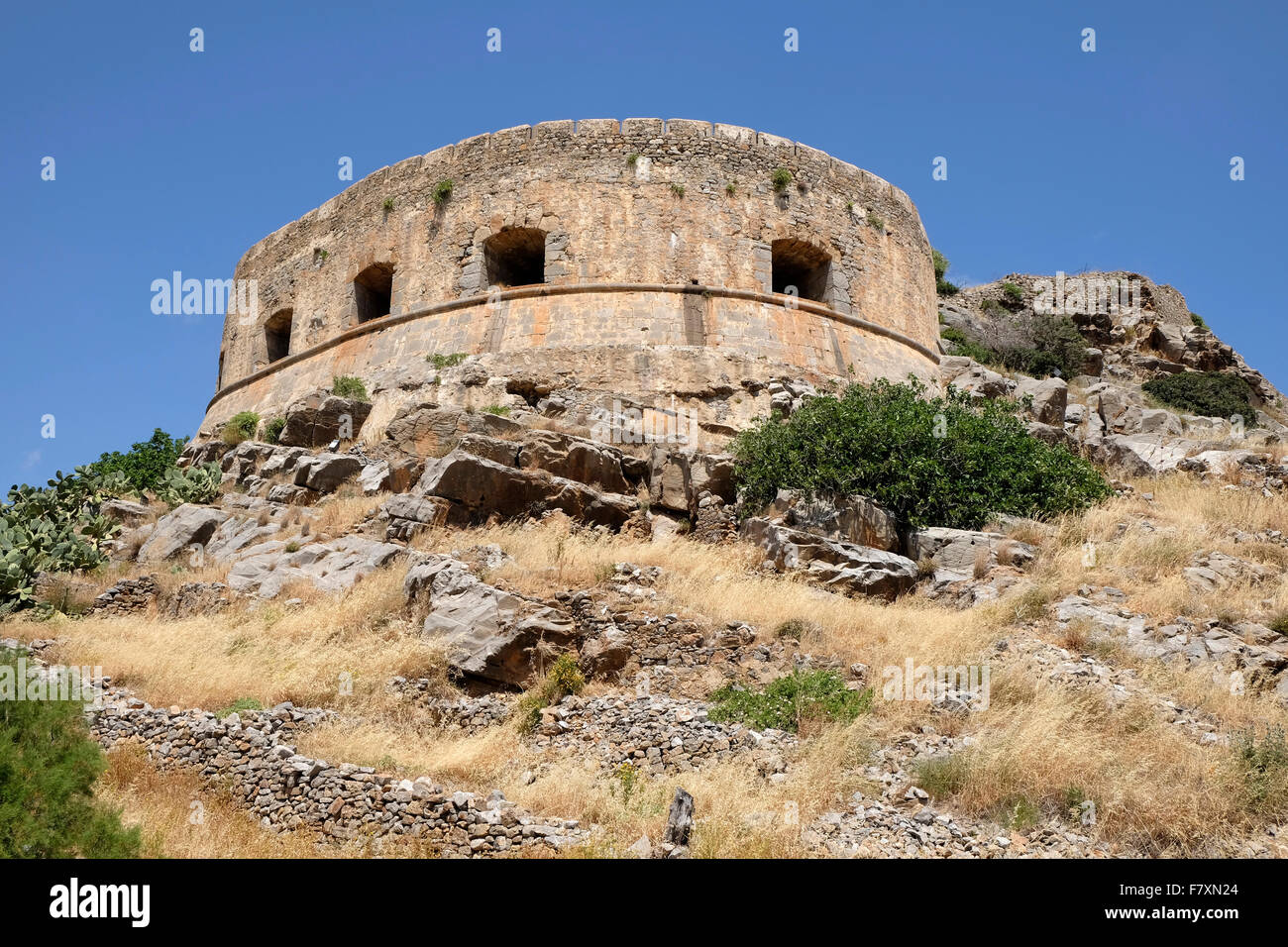 The Venetian Bastion of Mezzaluna Moceniga or Barbariga on the island of Spinalonga, Crete. - Stock Image