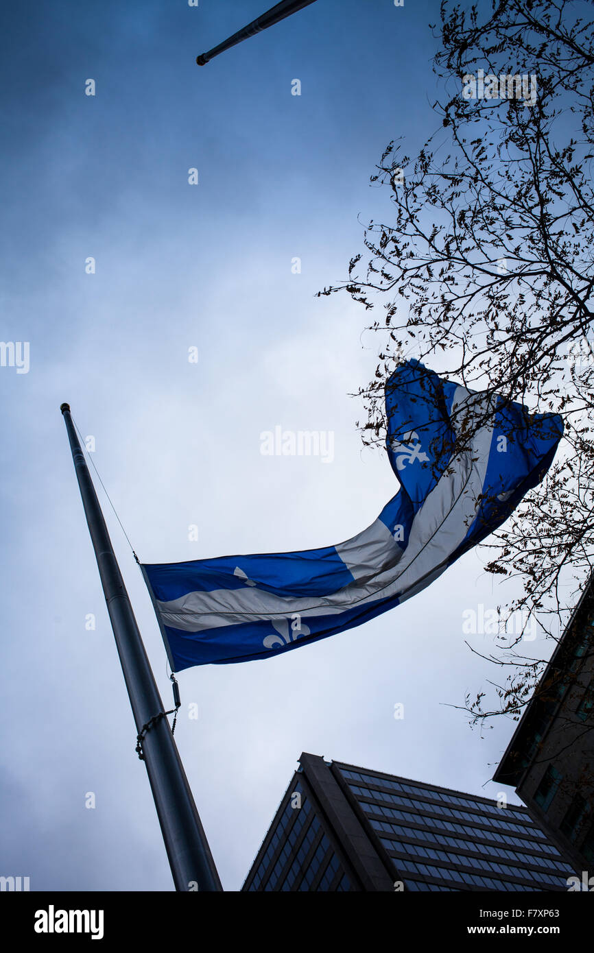 November 14th 2015, Montreal Canada. Quebec Flag at half mast in memory of the killed people in Paris during the - Stock Image