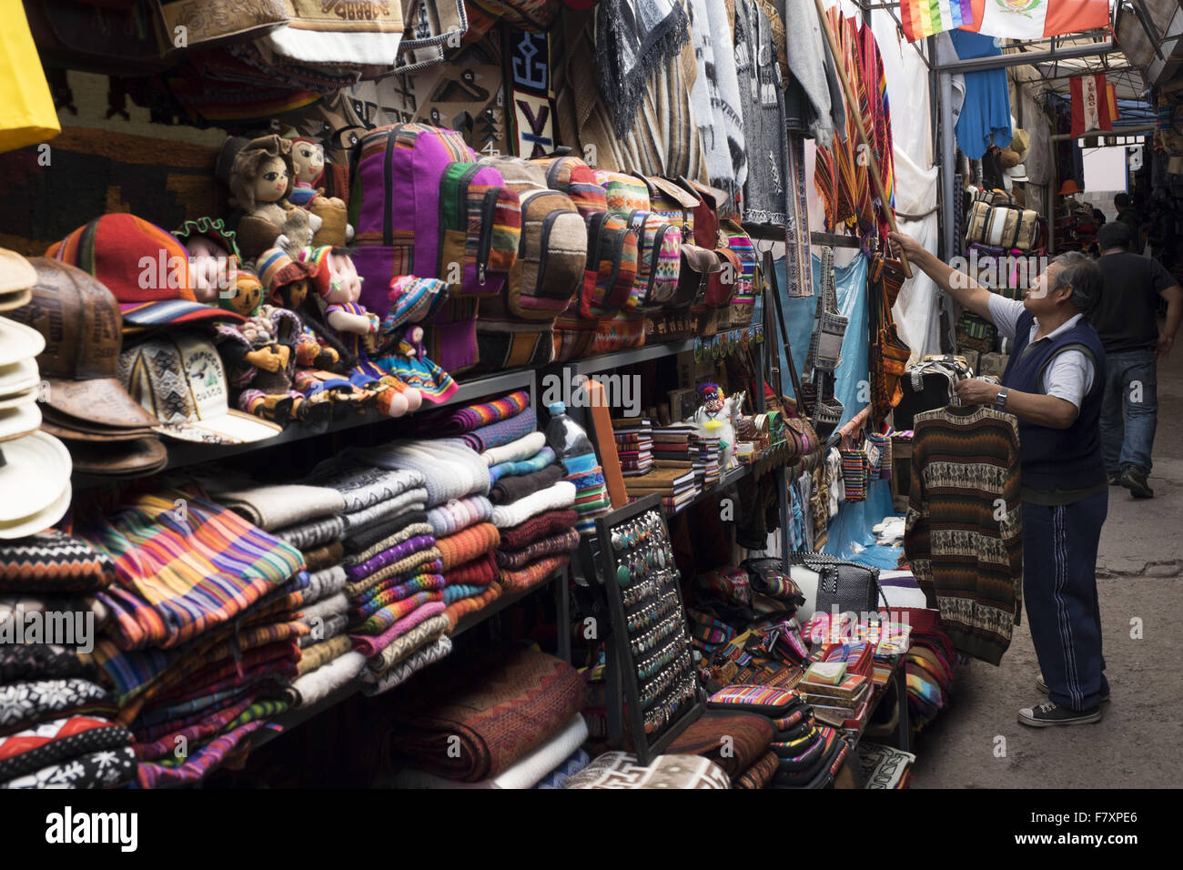 Sale Of Handicrafts In One Of The Shops In Cuzco Stock Photo