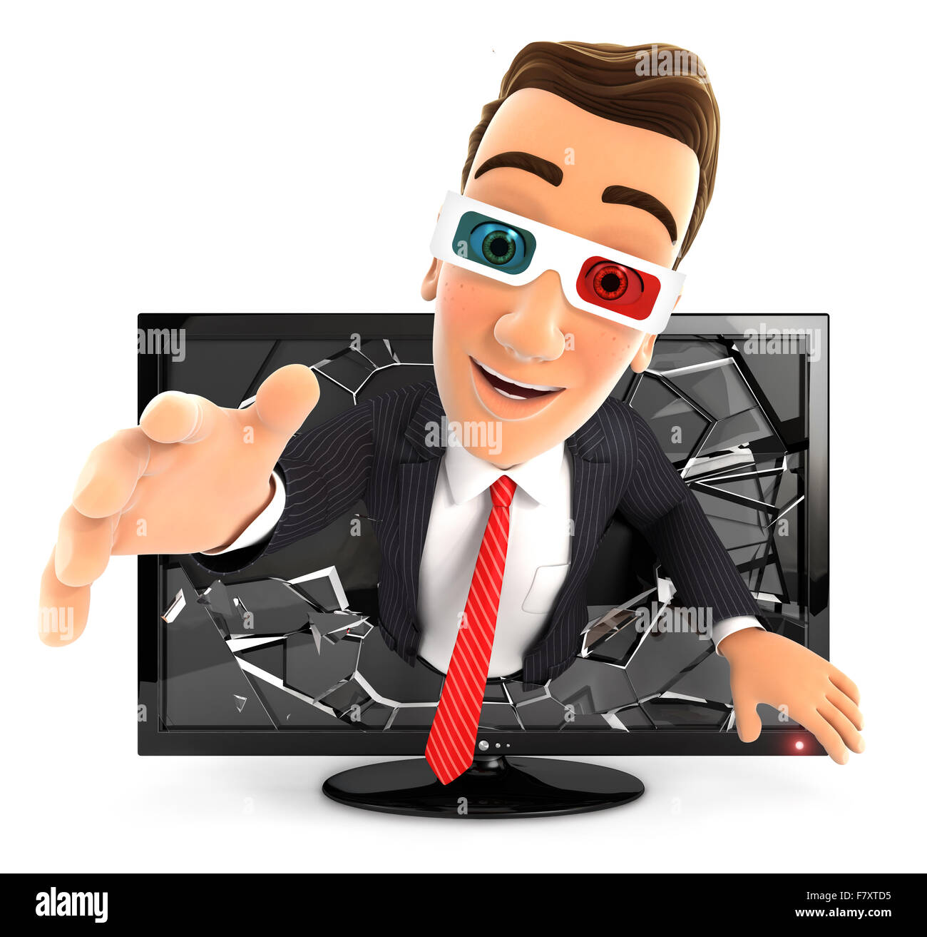3d businessman coming out of 3d television, isolated white background Stock Photo