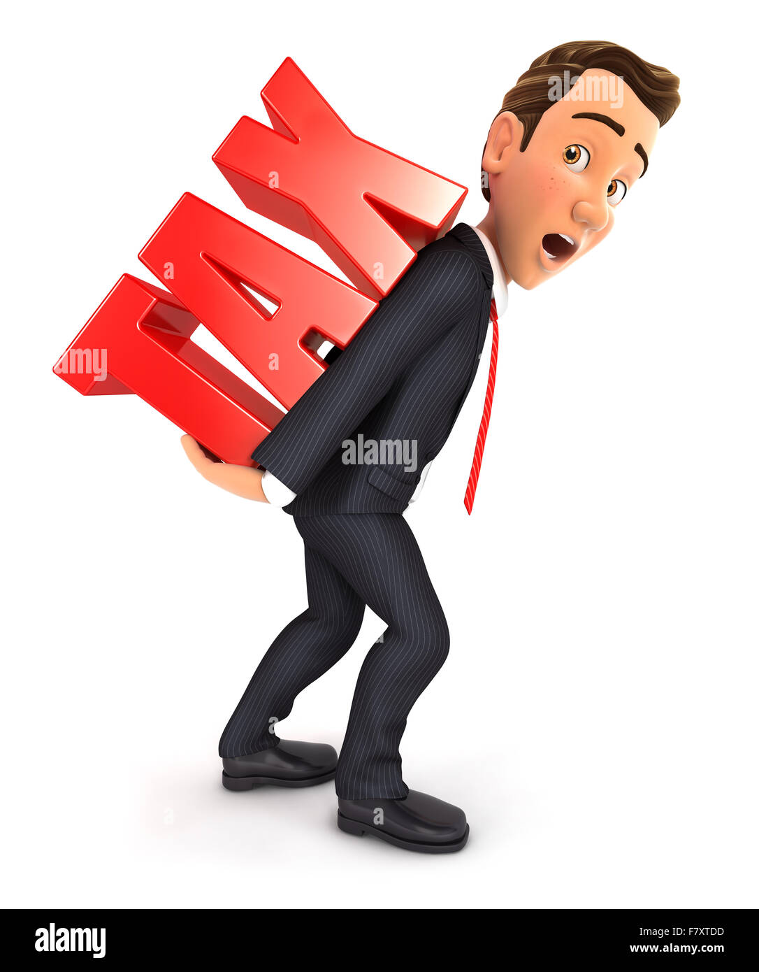 3d businessman carrying heavy tax word, isolated white background Stock Photo