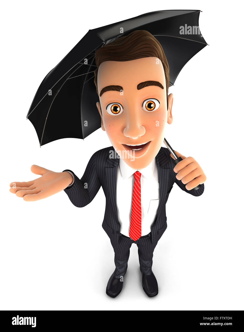3d businessman with an umbrella, isolated white background Stock Photo