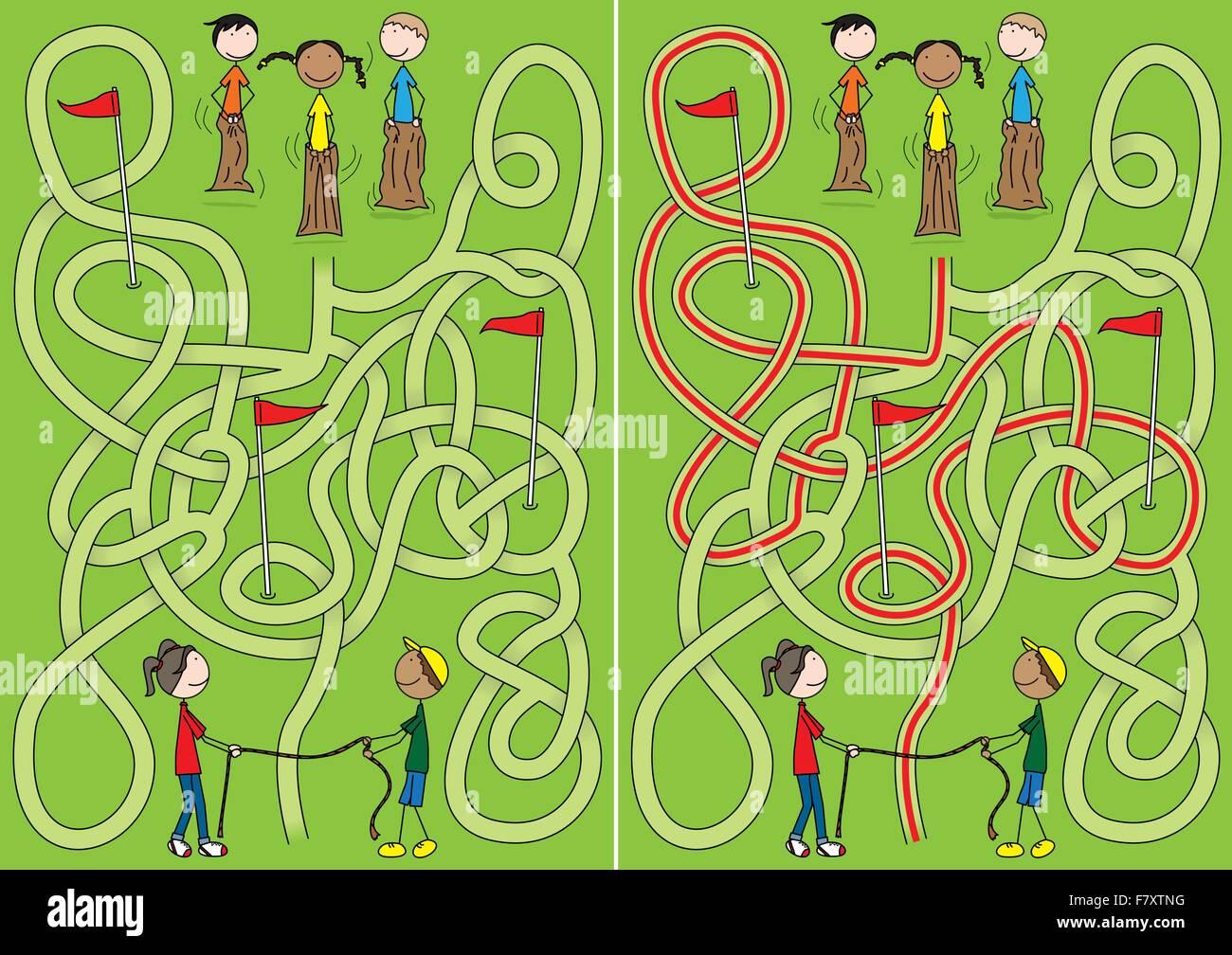 Happy kids maze - Stock Vector