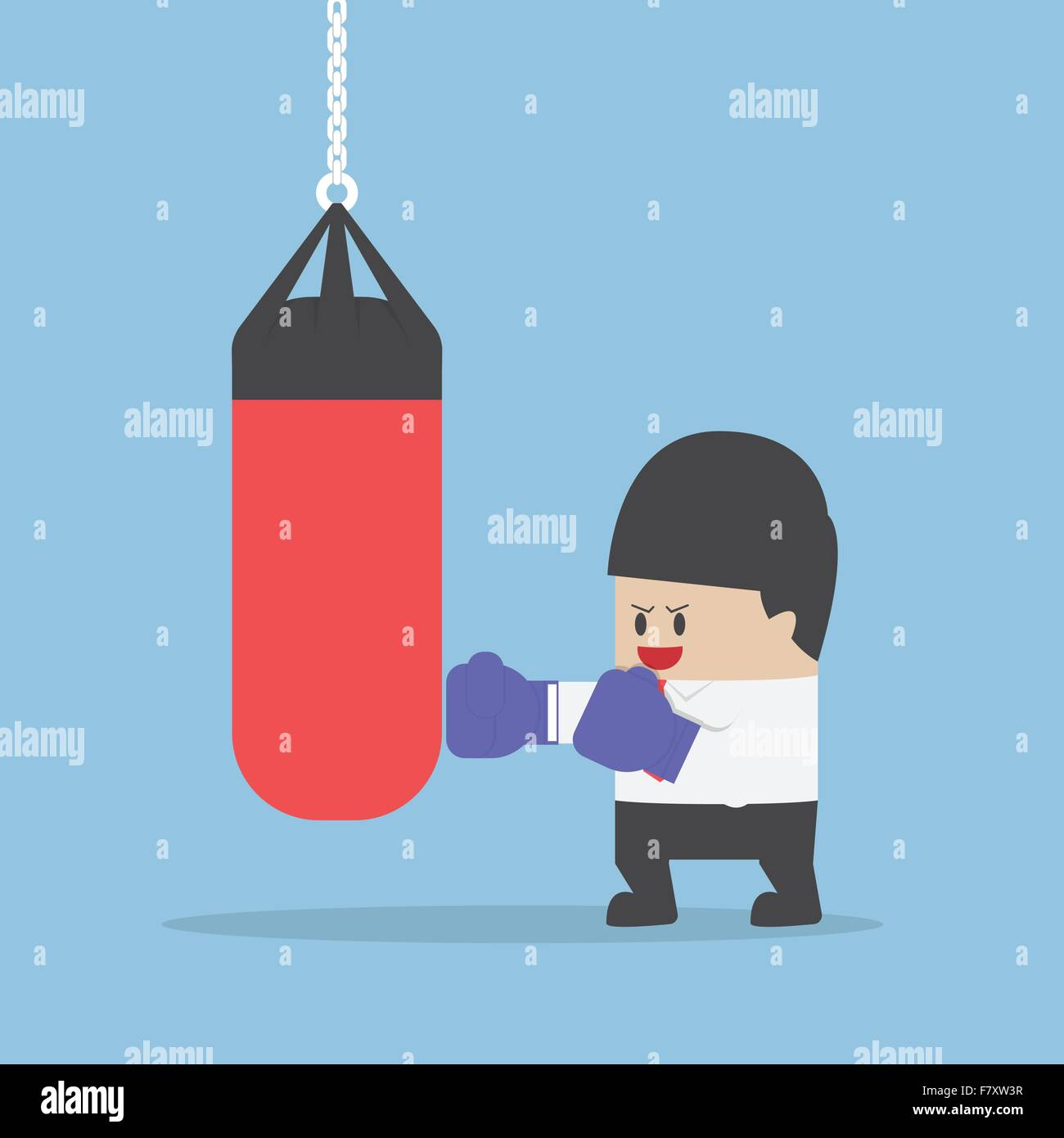 Businessman wearing boxing gloves and punch the punching bag, VECTOR, EPS10 - Stock Vector