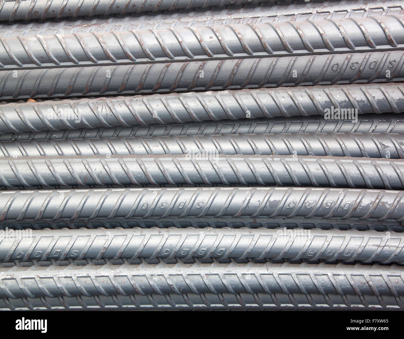 Sturdy steel steel bar construction material industry. - Stock Image