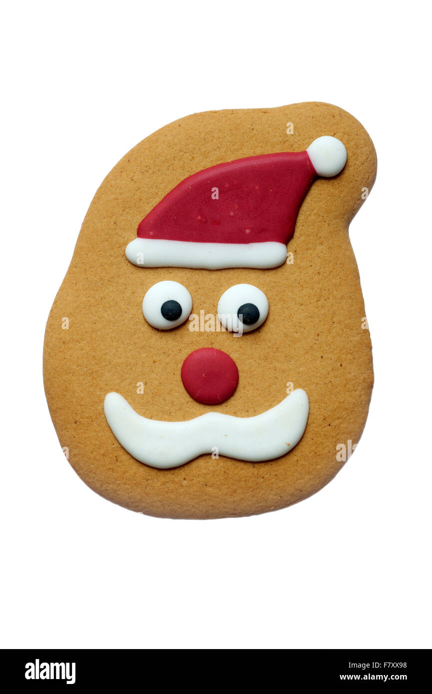 Festive Design Christmas Iced Gingerbread Biscuit Cut Out On White