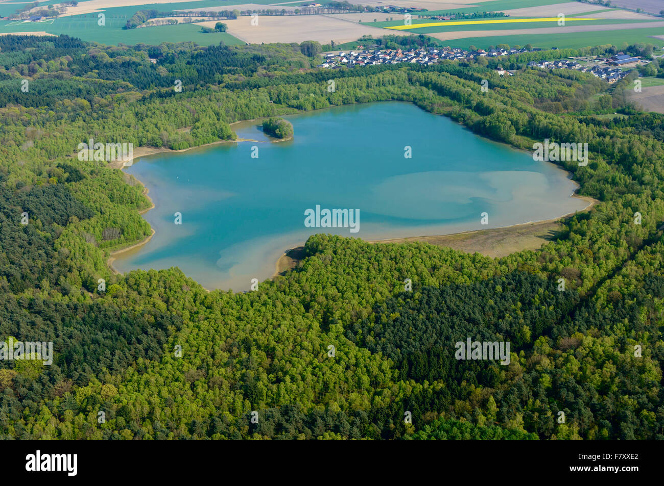 the dammer bergsee near damme (dümmer) from above, vechta district, niedersachsen, germany - Stock Image