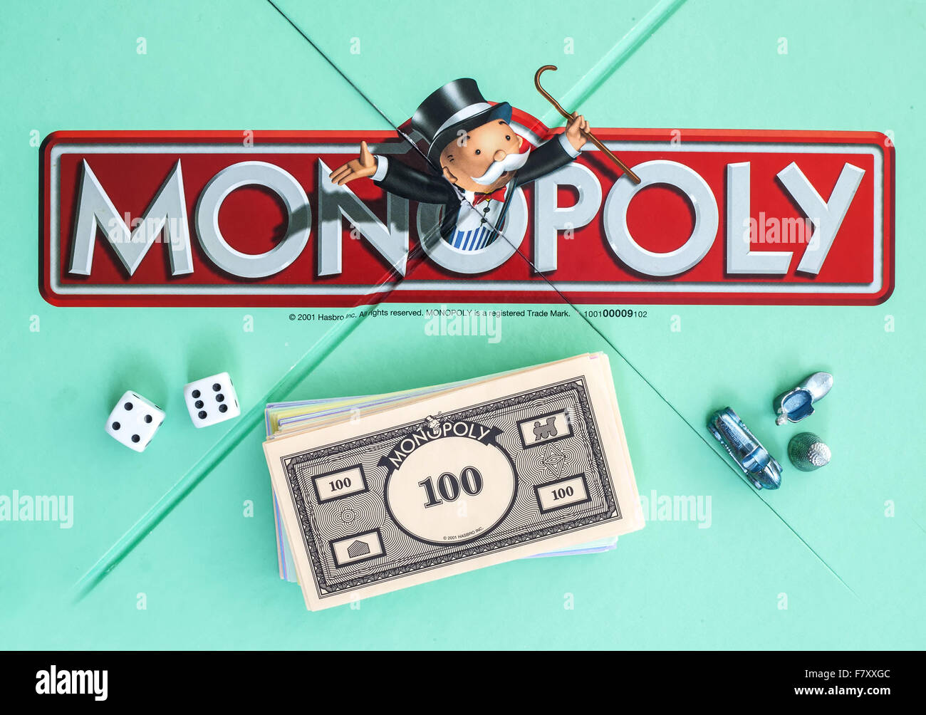 English Edition of Monopoly showing The Logo,  The classic trading game from Hasbro was first introduced to America - Stock Image
