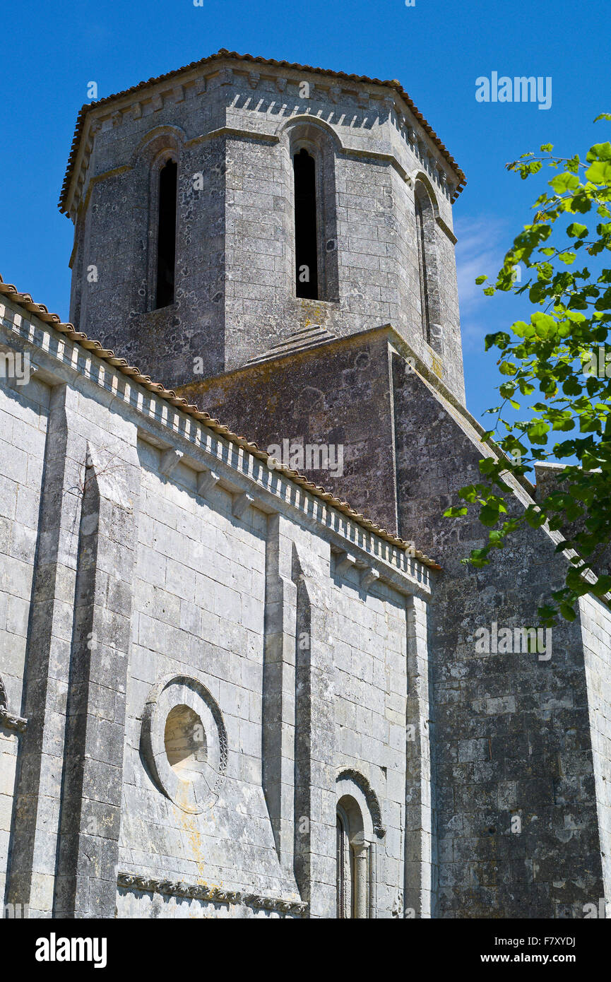 Octagonal bell tower of St Peter's Church – Eglise Saint-Pierre, Echebrune, Charente Maritime, France - Stock Image