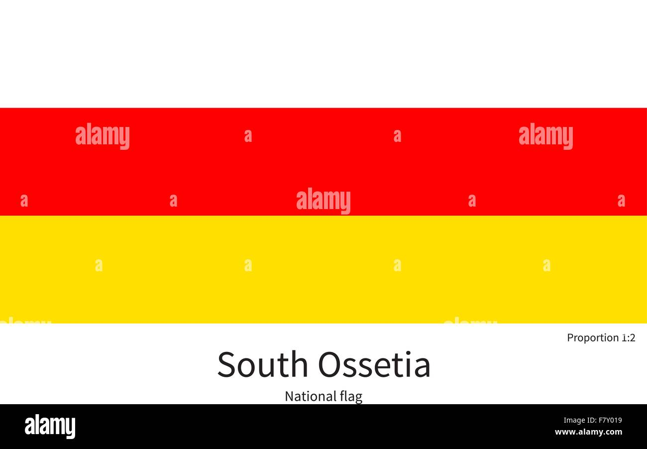 National flag of South Ossetia with correct proportions, element, colors - Stock Image