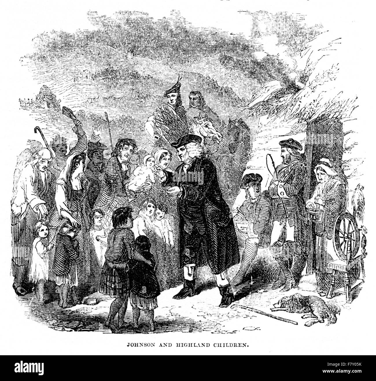 An engraving of Doctor Johnson and Highland Children scanned at high resolution from a book printed in 1852. At - Stock Image