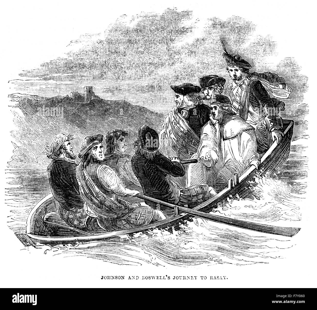 Engraving of Doctor Johnson & James Boswell's Journey to Rasay (Raasay) scanned at high resolution from - Stock Image