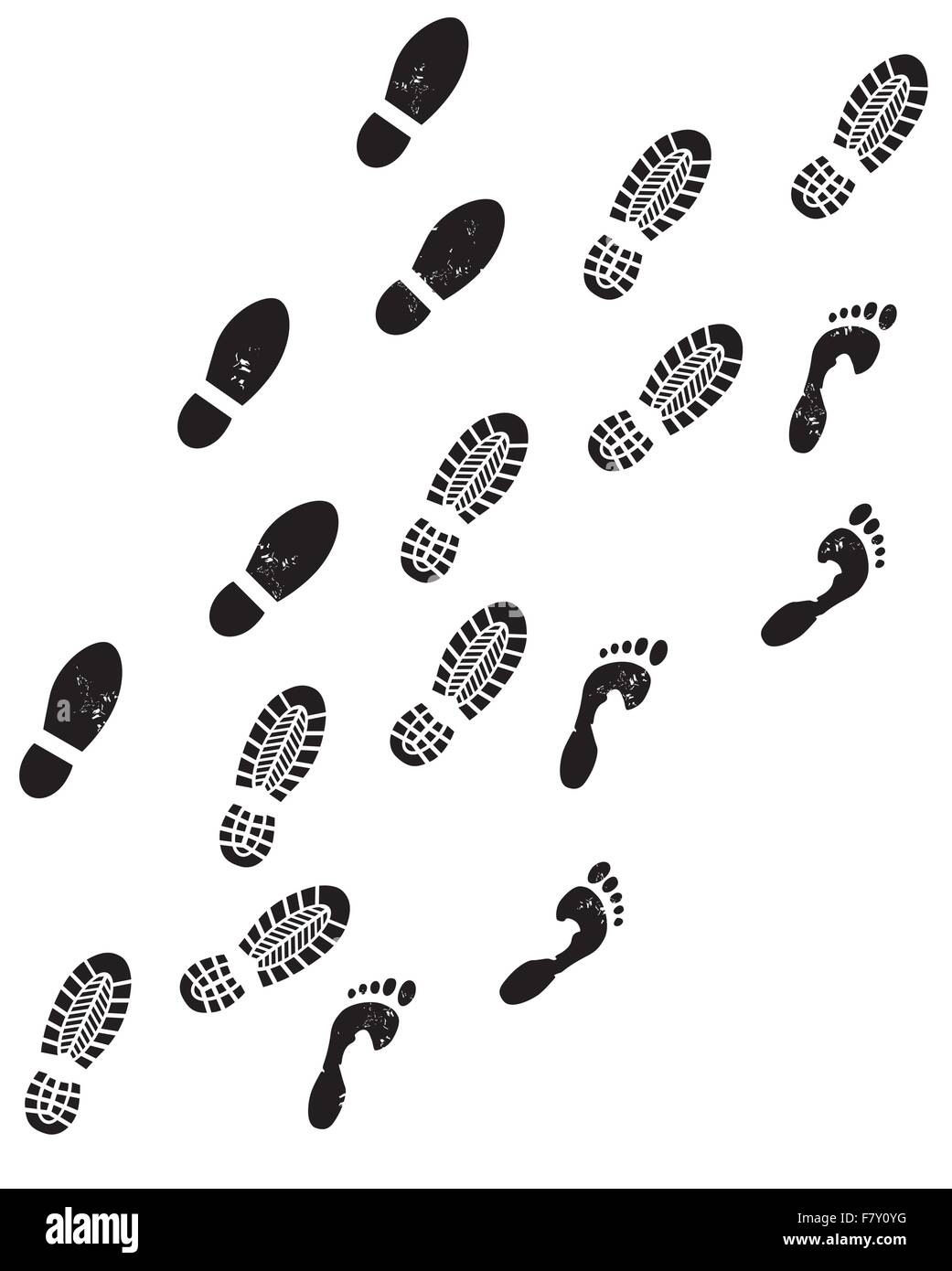 three footprints - Stock Image