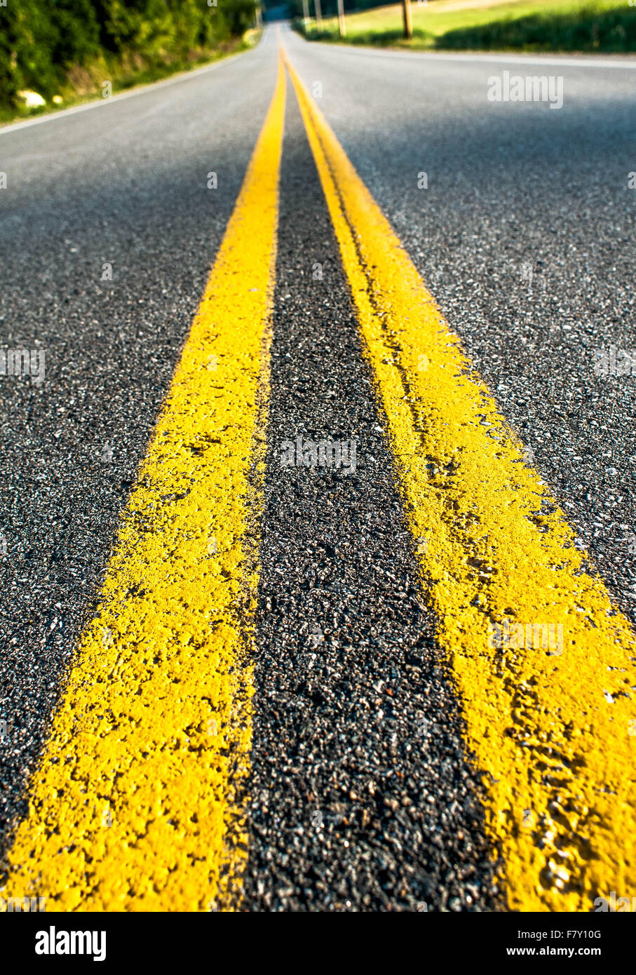 A double yellow line on a country road fading into the distance. - Stock Image