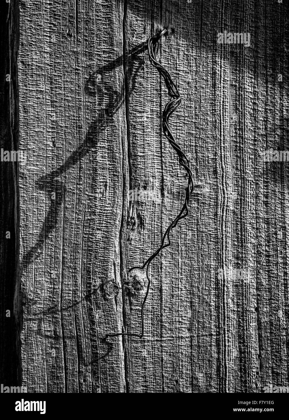 Door handle of twisted wire on an old weathered barn door in Norway - Stock Image