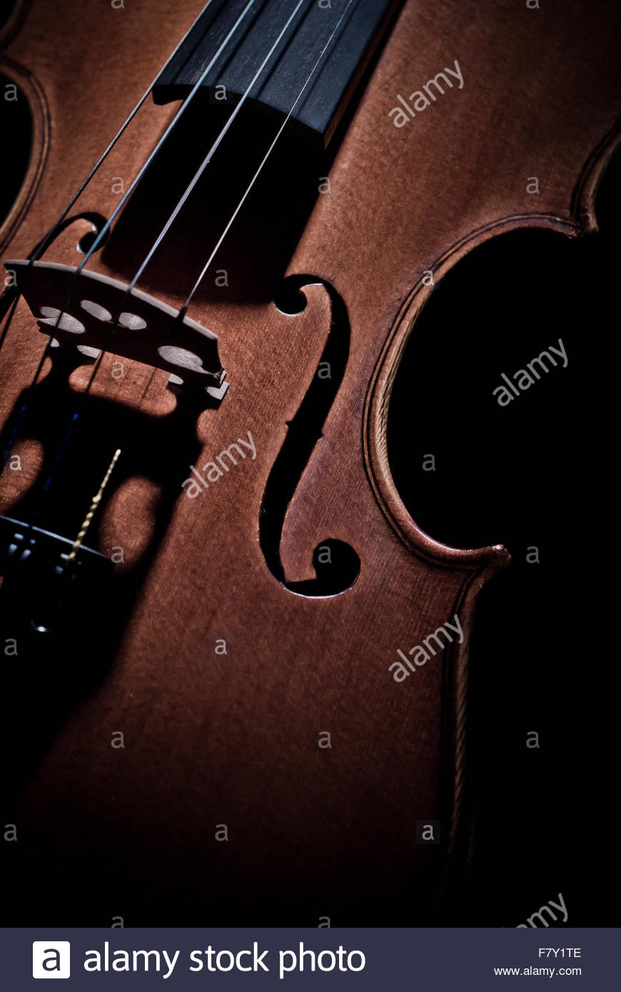 Detail of an ancient rare violin - Stock Image
