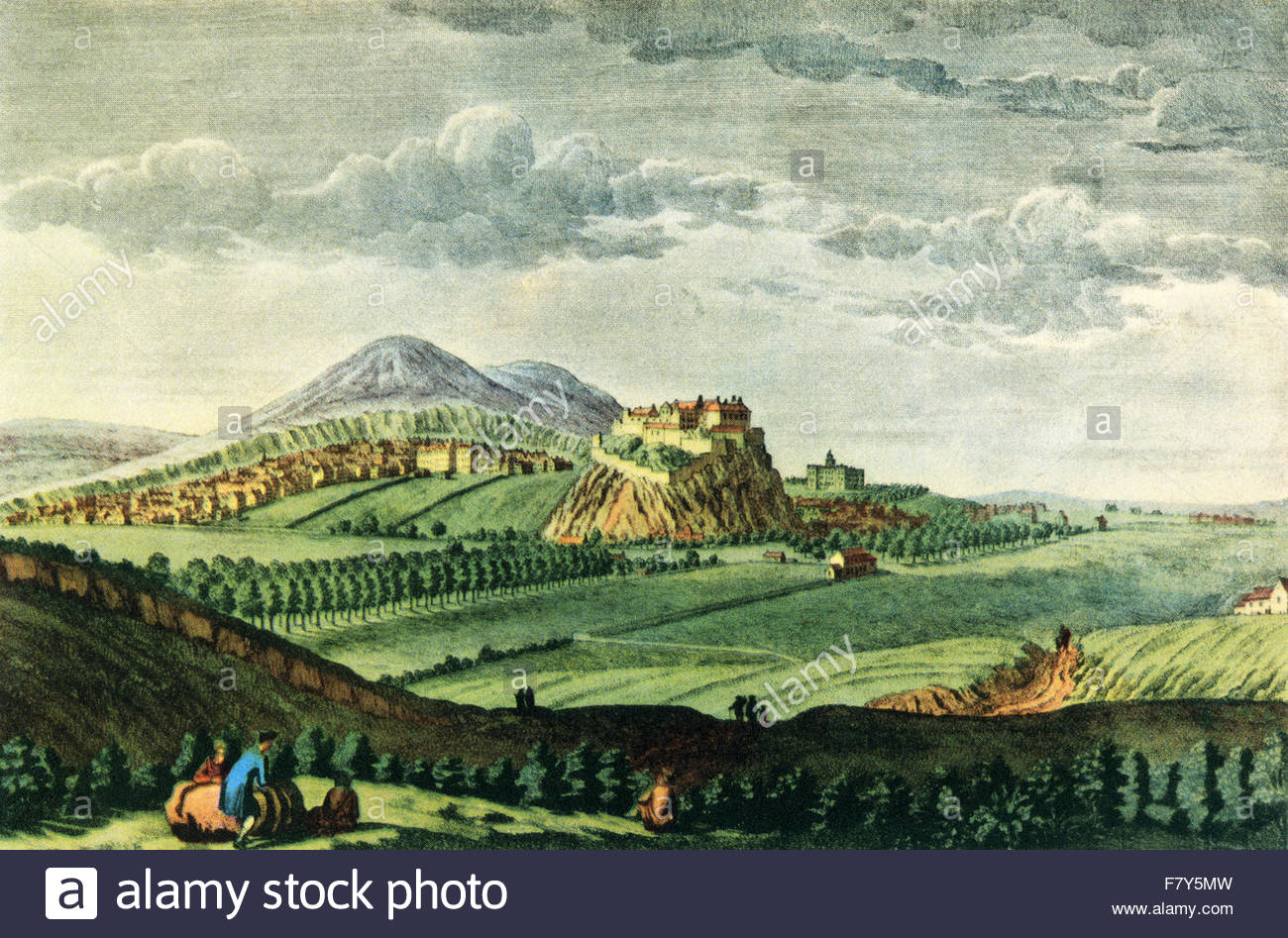 View of Edinburgh, Scotland, seen from the west c. 1750. After the engraving by Paul Sandby. - Stock Image