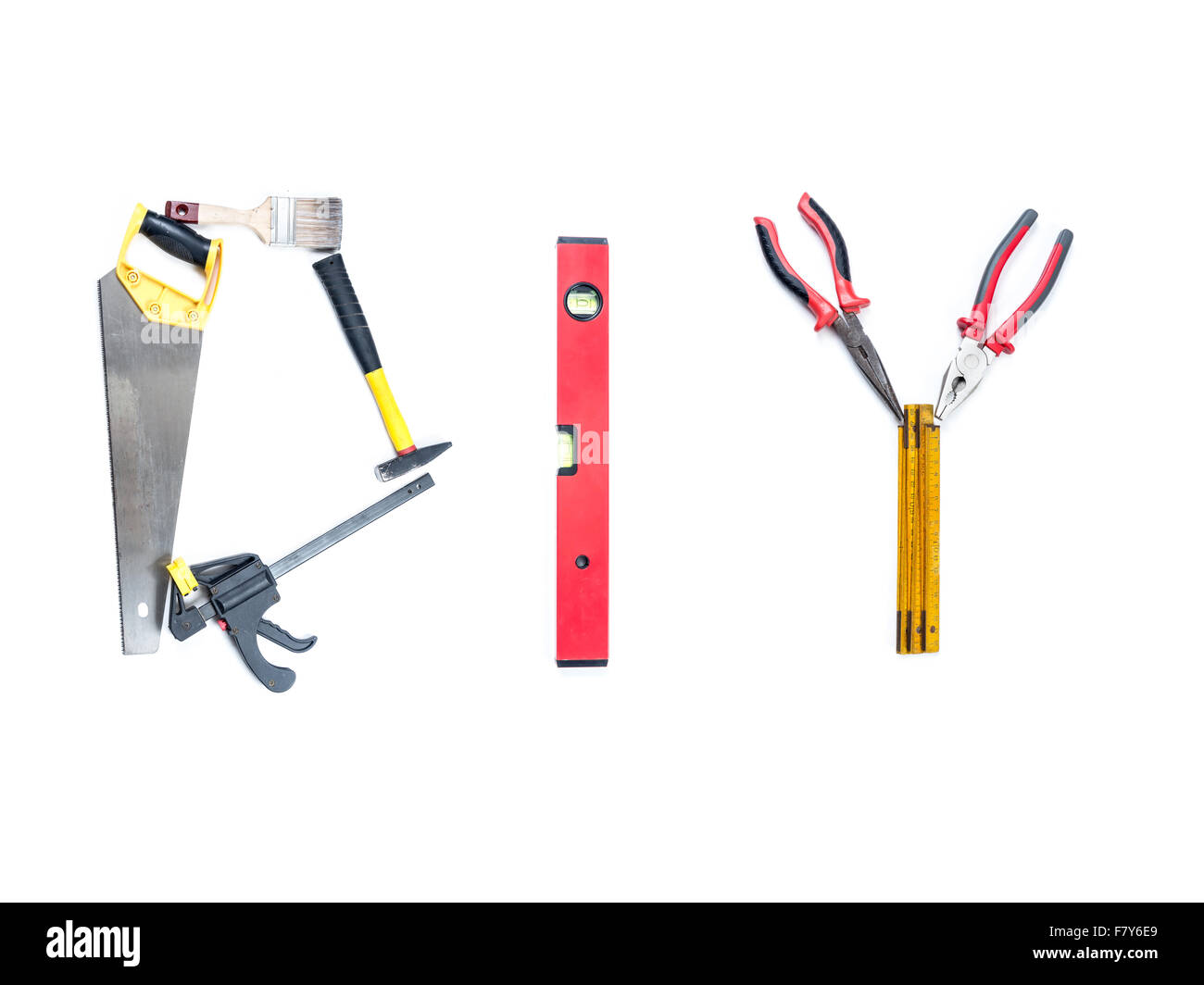 DIY acronym arranged from set of different tools and accessories shot on white - Stock Image