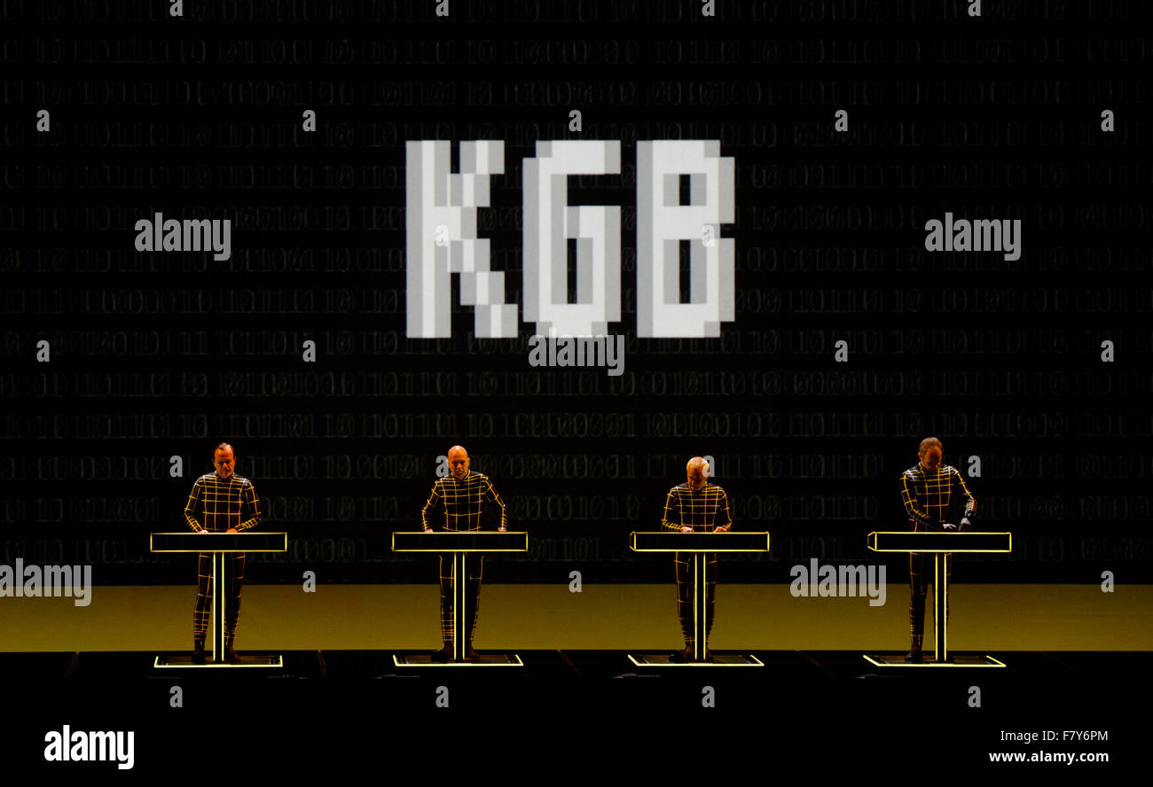 Prague, Czech Republic. 03rd Dec, 2015. The German electronic music band Kraftwerk performs during its 3-D Concert Stock Photo